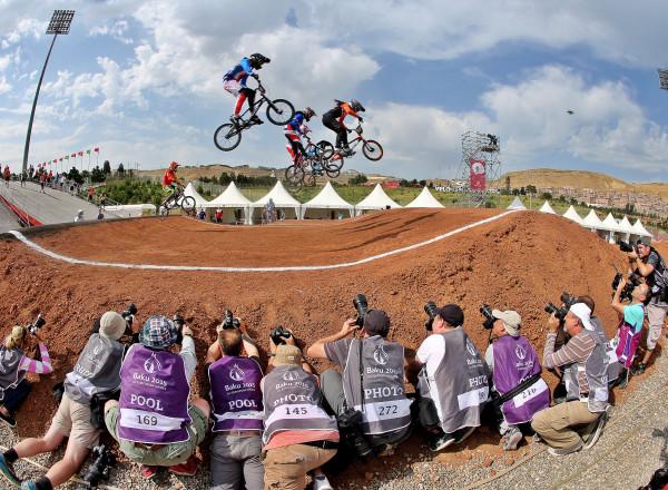 BAKU,AZERBAIJAN,26.JUN.15 - European Games Baku, BMX. Image shows a feature with athletes and photographers. Photo: GEPA pictures/ Markus Oberlaender