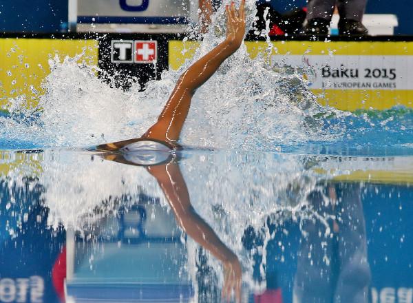 BAKU,AZERBAIJAN,27.JUN.15 - European Games Baku, Swimming 4x200m Freestyle Women. Image shows a feature with Lena Opatril (AUT). Photo: GEPA pictures/ Markus Oberlaender